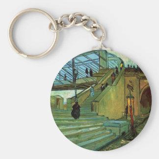 Van Gogh Trinquetaille Bridge, Vintage Fine Art Basic Round Button Keychain