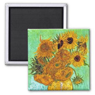 Van Gogh - Twelve Sunflowers 2 Inch Square Magnet