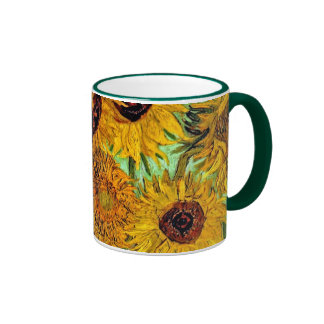 Van Gogh - Twelve Sunflowers Ringer Coffee Mug