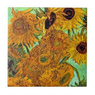 Van Gogh - Twelve Sunflowers Small Square Tile