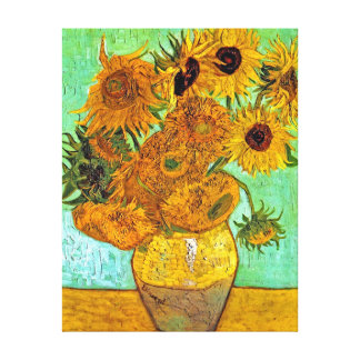 Van Gogh Twelve Sunflowers Stretched Canvas Print