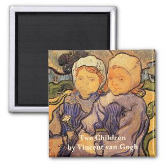 Van Gogh, Two Children, Vintage Impressionism Art Magnet