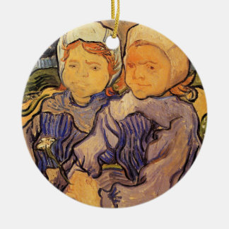 Van Gogh, Two Children, Vintage Impressionism Art Double-Sided Ceramic Round Christmas Ornament