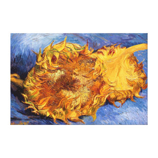 Van Gogh: Two cut Sunflowers Stretched Canvas Print