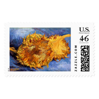 Van Gogh Two cut Sunflowers Postage Stamp
