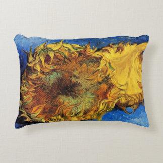 Van Gogh Two Cut Sunflowers, Vintage Fine Art Accent Pillow