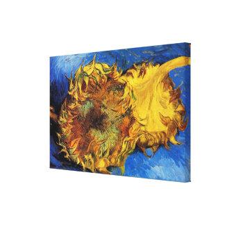 Van Gogh Two Cut Sunflowers, Vintage Fine Art Canvas Print