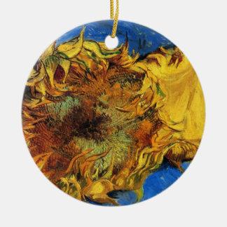 Van Gogh Two Cut Sunflowers, Vintage Fine Art Ceramic Ornament