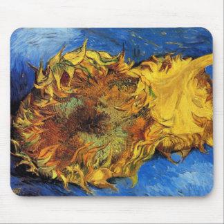 Van Gogh Two Cut Sunflowers, Vintage Fine Art Mouse Pad