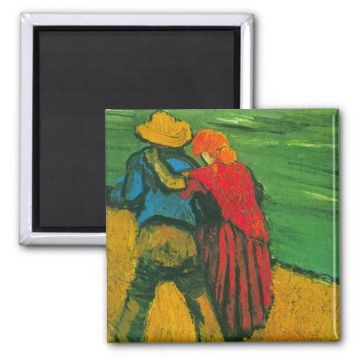 Van Gogh Two Lovers 2 Inch Square Magnet