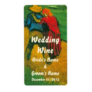 Van Gogh Two Lovers Customizable Wedding Wine Custom Shipping Labels