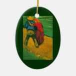 Van Gogh Two Lovers Double-Sided Oval Ceramic Christmas Ornament