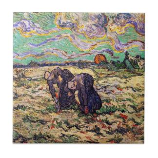 Van Gogh - Two Peasant Women Digging In Field Ceramic Tile