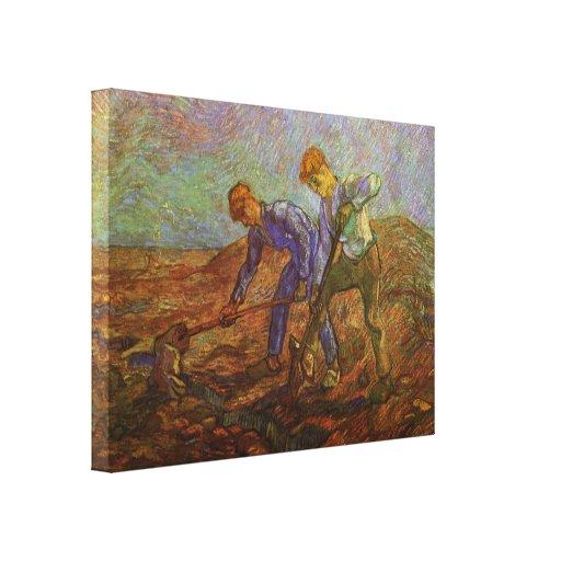 Van Gogh, Two Peasants Digging, Vintage Farmers Stretched Canvas Prints