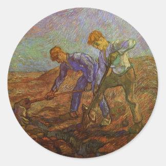 Van Gogh, Two Peasants Digging, Vintage Farmers Stickers