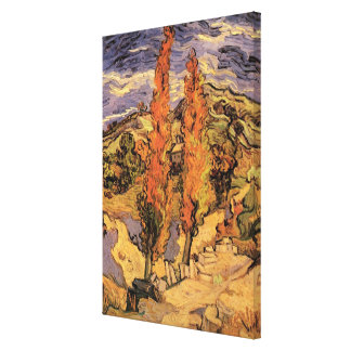 Van Gogh Two Poplars on a Road Through the Hills Canvas Print