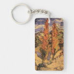 Van Gogh Two Poplars on a Road Through the Hills Rectangle Acrylic Keychains