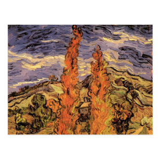 Van Gogh Two Poplars on a Road Through the Hills Post Card
