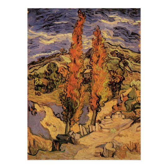 Van Gogh Two Poplars on a Road Through the Hills Poster