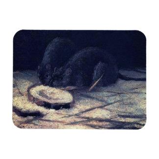 Van Gogh - Two Rats Rectangle Magnet