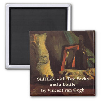 Van Gogh Two Sacks and Bottle, Vintage Still Life 2 Inch Square Magnet
