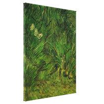 Van Gogh Two White Butterflies, Vintage Fine Art Canvas Print