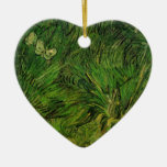 Van Gogh Two White Butterflies, Vintage Fine Art Double-Sided Heart Ceramic Christmas Ornament