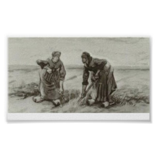Van Gogh - Two Women Talking to Each Other Print