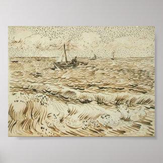 Van Gogh - un barco de pesca en el mar Posters