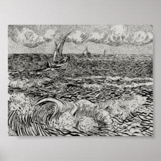 Van Gogh - un barco de pesca en el mar Poster