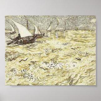 Van Gogh - un barco de pesca en el mar Impresiones