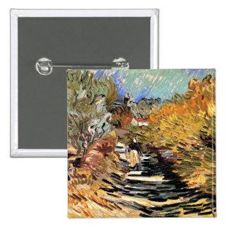 Van Gogh - un camino en Santo-Remy con la figura Pin Cuadrada 5 Cm