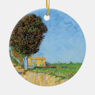 Van Gogh un carril cerca de Arles, bella arte del Adorno Navideño Redondo De Cerámica