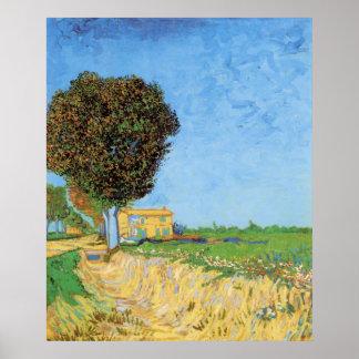 Van Gogh un carril cerca de Arles, impresionismo Impresiones