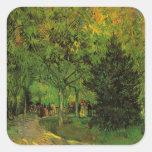 Van Gogh un carril en el jardín público en Arles Calcomanías Cuadradases