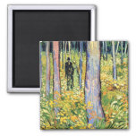 Van Gogh - Undergrowth With Two Figures 2 Inch Square Magnet