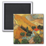 Van Gogh Valley with Ploughman (F727) 2 Inch Square Magnet