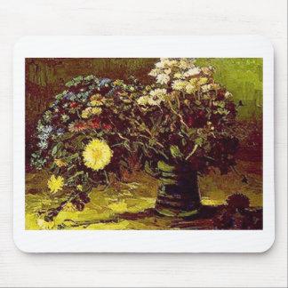 Van Gogh Vase Blossoms Flowers Vintage Painting Mouse Pad