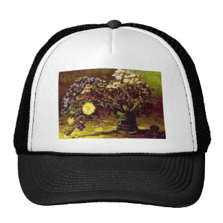 Van Gogh Vase Blossoms Flowers Vintage Painting Trucker Hat
