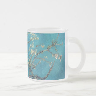 Van Gogh Vase Flowers Blossoms Peace Love Art Frosted Glass Coffee Mug