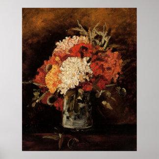 Van Gogh Vase w Carnations Vintage Floral Flowers Print