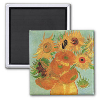 Van Gogh Vase with 12 Sunflowers, Flowers Fine Art 2 Inch Square Magnet
