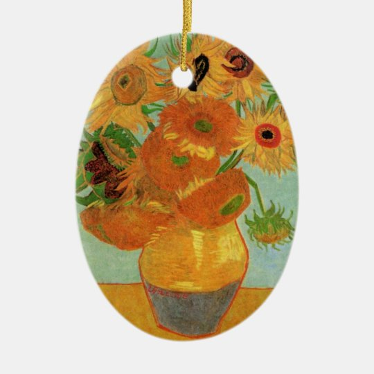 Van Gogh Vase with 12 Sunflowers, Flowers Fine Art Ceramic Ornament