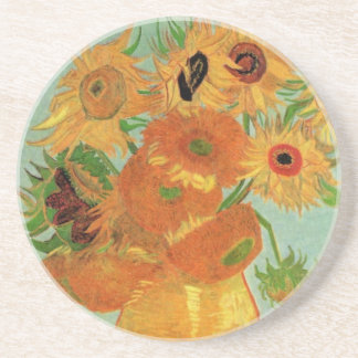 Van Gogh Vase with 12 Sunflowers, Flowers Fine Art Coaster