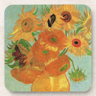 Van Gogh Vase with 12 Sunflowers, Flowers Fine Art Coaster