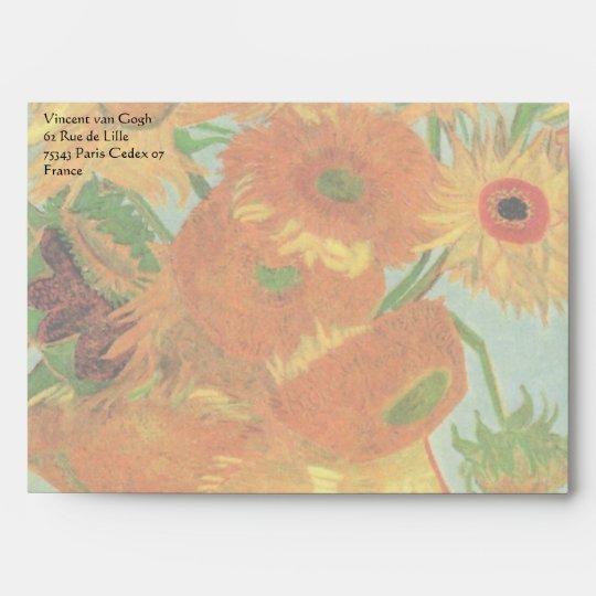 Van Gogh Vase with 12 Sunflowers, Flowers Fine Art Envelope