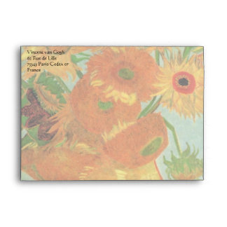 Van Gogh Vase with 12 Sunflowers, Flowers Fine Art Envelopes