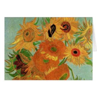 Van Gogh Vase with 12 Sunflowers, Flowers Fine Art Greeting Card