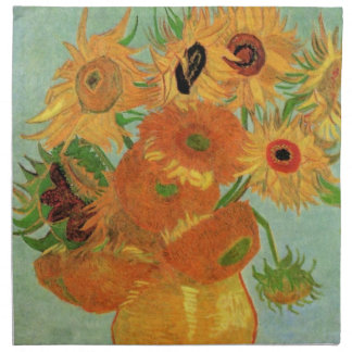 Van Gogh Vase with 12 Sunflowers, Flowers Fine Art Napkin