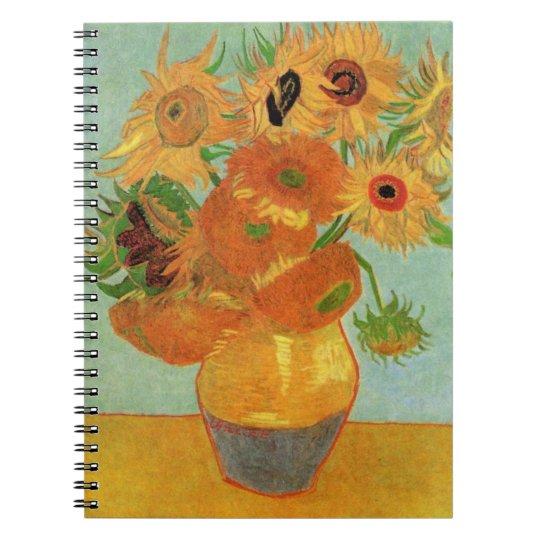 Van Gogh Vase with 12 Sunflowers, Flowers Fine Art Notebook